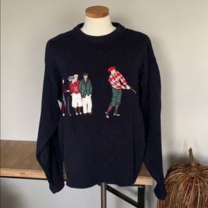 Izod Vintage Golf Sweater cotton knit size M